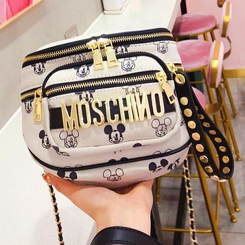 Moschino Mickey Joint Edition Limited Edition Canvas Chain Bag waist bag Beige