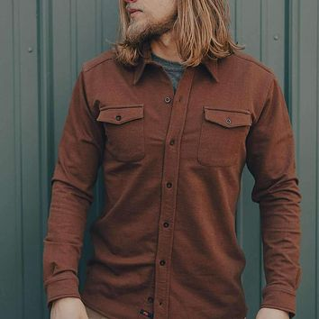 Knit Workman Shirt Jacket in Brown by The Normal Brand