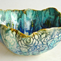 Decorative Lace ceramic bowl in turquoise teal blue and green, peacock bowl, collectible