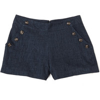 ModCloth Vintage Inspired Short Length High Waist Pass the Navy Down Shorts