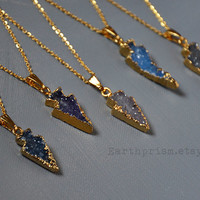 Agate Druzy Arrowhead Crystal Natural Gemstone Gold Plated Pendants Gold Chain Necklace