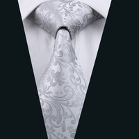 Men Silk Tie Gray Floral Neck Tie 100% Silk Jacquard Ties For Men Business Wedding Party