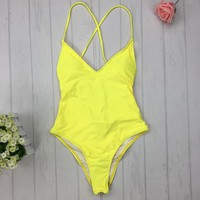 2018 new backless monokini Multi rope yellow blue Brazilian One Piece swimwear swimsuits women summer 2017