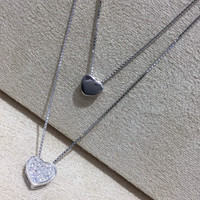 Sweet double love 925 Sterling Silver necklace,  a perfect gift