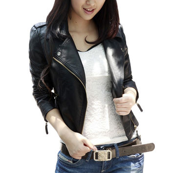 Korean Style Sweet Bodycon PU Leather Jacket