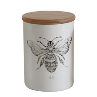 White Stoneware Canister with Bee Image and Bamboo Lid by Creative Co-Op