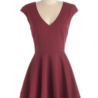 ModCloth Mid-length Cap Sleeves A-line Curtsy for Yourself Dress in Red