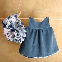 SET-Baby Girl Boy Clothes-Blue Corduroy Dress & Cotton Diaper Cover-Tunic and Bloomers-Newborn Clothes-Infant-Baptism-Flower Girl