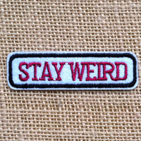 """Punk Patches for Jackets Stay Weird Iron On Patch 3"""" Comic Rock Punk Band Geek Tumblr Retro Grunge Patches DIY Iron On Patches for Backpacks"""