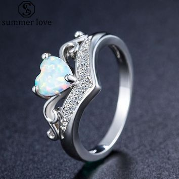 Elegant Rainbow Fire Opal Heart Claddagh Ring For Women White AAA CZ Promise Rings Wedding Engagement Jewelry Gift Dropshipping