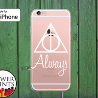 Always Quote Deathly Hallows Symbol Inspired White Clear Rubber Phone Case for iPhone 5/5s and 5c and iPhone 6 and 6 Plus + and iPhone 6s