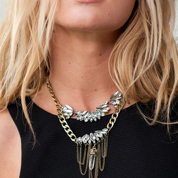Empire Crystal Stone Necklace - Antique Gold