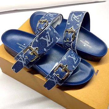 LV 2019 new BOM DIA classic old flower buckle open toe flat sandals sandals blue