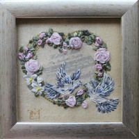 Wedding gift framed Limited edition Exclusive gift idea Fiber Art Wall textile Wall hanging 3d Ribbon Embroidery