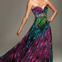 Strapless Peacock Print Dress by Night Moves
