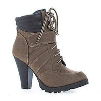 Lance By Soda, Lace Up Lug Sole High Stacked Heel Padded Collar Ankle Boots