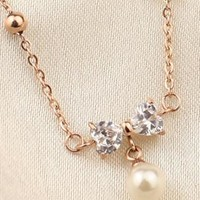 rose golden bowknot pearl anklet from adaliawu