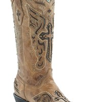 Corral Women's Antique Saddle w/ Chocolate Inlayed Winged Cross & Brass Studs Snip Toe Western Boots