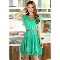 Green Crochet Lace Ruffled Chiffon Dress