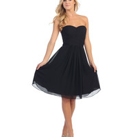 Black Pleated Chiffon Strapless Sweetheart Dress