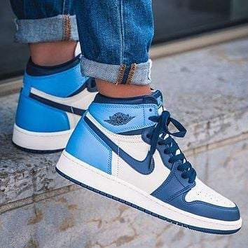 NIKE Air Jordan 1 Retro High Obsidian UNC Womens Sneakers/Mens Sneakers Shoes 2020 Sale