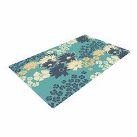 "Zara Martina Mansen ""Teal Color Bouquet"" Green Blue Woven Area Rug"
