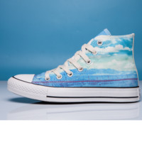 """""""Converse"""" Fashion Canvas Flats Sneakers Sport Shoes High tops Blue printing"""