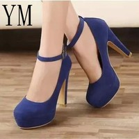 Sexy Ankle Strap Femeninas High heels Autumn Flock Round toe High heels Female Platform Summer Shoes Women Pumps Sandals Muje