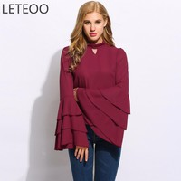 Summer Casual Women Flare Sleeve Blouse Shirts Stand Collar Ruffles Chiffon Blouses Top Hollow Out Loose Clothing Female Red L2