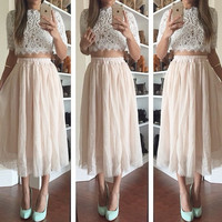White Blouse Crochet  Cropped Top And Circle Mesh Maxi Skirt