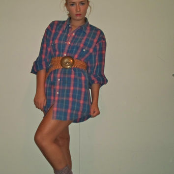 90s Plaid Unisex Wrangler Western Button Down Work Shirt, Country Top