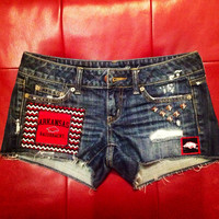 SALE - SIZE 2 Arkansas Razorback Denim Shorts