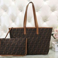 FENDI Fashion Women Retro Leather Handbag Tote Shoulder Bag Wrist Bag Two Piece Set Brown