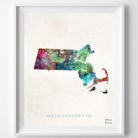 Massachusetts Map, Boston Poster, Painting, Watercolor, Nursery, Room, Home Town, Wall Art, USA, States, America, Wall Decor, Gift [NO 358]