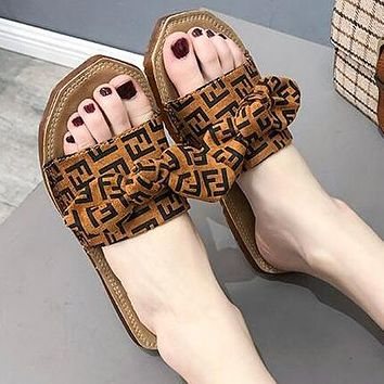 FENDI Summer Fashion Women Casual Bowknot Flat Sandal Slipper Shoes Brown