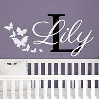 Wall Decals Personalized Name Butterflies Vinyl Sticker Decal Custom Name Girls Boys Initial Monogram Children Baby Decor Nursery Kids Room Bedroom Art NS110