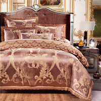 2016New  Jacquard Gold Jacquard Silk Cotton Luxury Bedding Set King Size Queen Bed Set Lace Duvet Cover Bed Sheet Pillow Sham
