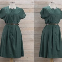 Vintage 1980s Dark Green Circle Shirt Waist Dress / Boxy Bodice Bottle Green Midi Dress / Plain Minimalist Lightweight Spring Medium M Dress