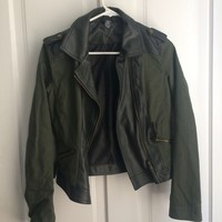 Pleather and army green biker coat
