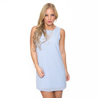 No Stopping Shift Dress In Sky Blue