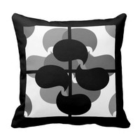 Black & White Abstract Melange Print Throw Pillow