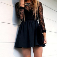 Mini Black Long Sleeve Lace Homecoming Dress