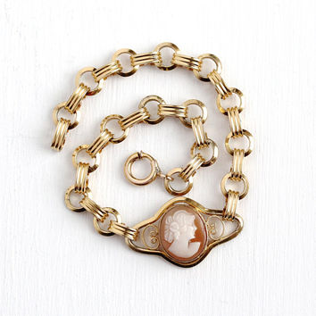 Vintage Cameo Bracelet - 1/20 12k Rosy Yellow Gold Filled Carved Genuine Shell Oval Lady - Retro 1950s Round Link GF Classic Jewelry