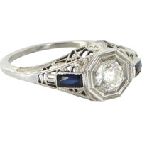 Vintage Art Deco Diamond Sapphire Filigree Ring 18 Karat Gold Estate Fine Jewelry