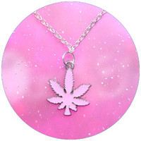 420 Pot leaf necklace pink, blue, green and red