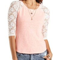 Lace Sleeve Baseball Tee by Charlotte Russe - Neon Coral