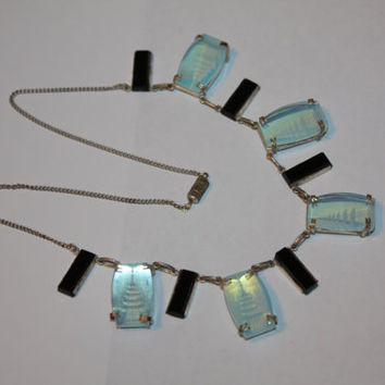 Vintage Moonstone Necklace, Pagoda Intaglio Necklace, Onyx Moonstone Choker, 1960s Jewelry