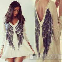 SIMPLE - Woman Fashionable Feather Design Long Sleeve T-Shirt a10635