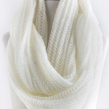 Ivory Skinny Cable Knit Infinity Scarf