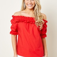 Dreamgirl Red Off The Shoulder Top